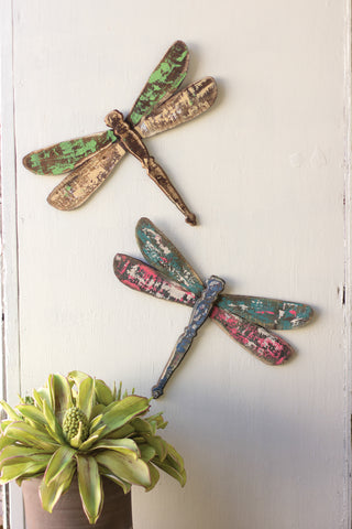 Set Of 2 Wooden Dragonfly Wall Art
