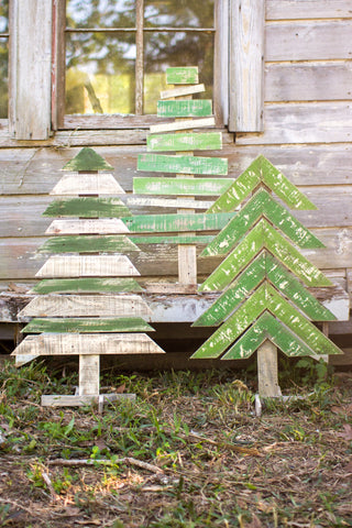 Set Of 3 Recycled Wood Trees With Stands