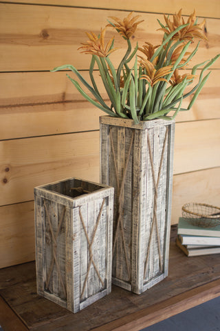 Set Of Two Tall Recycled Wooden Planters - Natural