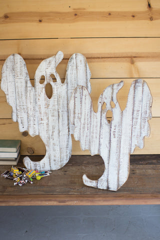 Set Of Two Recycled Wood Ghost Décor With Easels