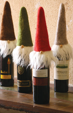 S Of 4 Felt Santa Wine Toppers With Wispy Beards