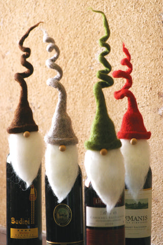 S Of 4 Felt Santa Wine Toppers With Curly Hats