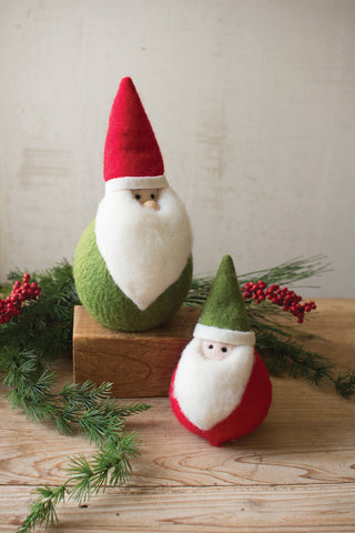 Set Of Two Fat Felt Santas