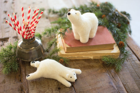 Set Of Two Felt Polar Bears