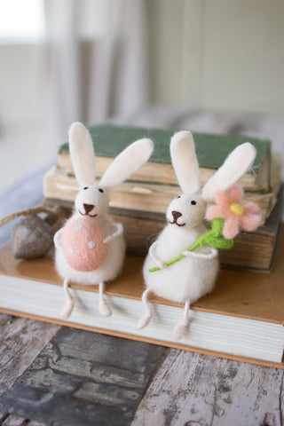 Set Of Two Felt Rabbits With Flower And Egg