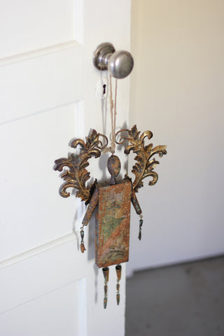 Rustic Metal Angel Bell Ornament