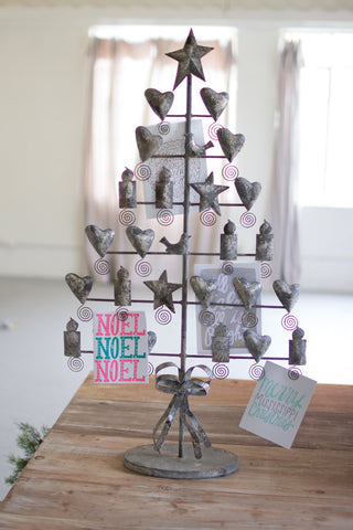 Metal Christmas Card Tree - Rustic Grey