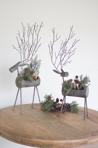 Set Of 2 Metal Deer Planters - Rustic Grey