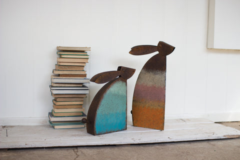 Set Of Two Rustic Metal Rabbits With Colored Detail
