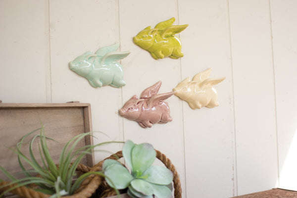 Set Of 4 Ceramic Flying Pigs