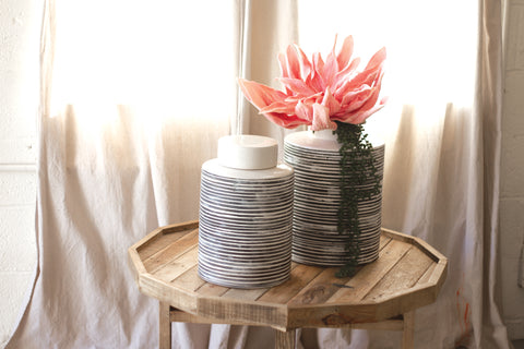 Ceramic Grey Striped Canister - Small