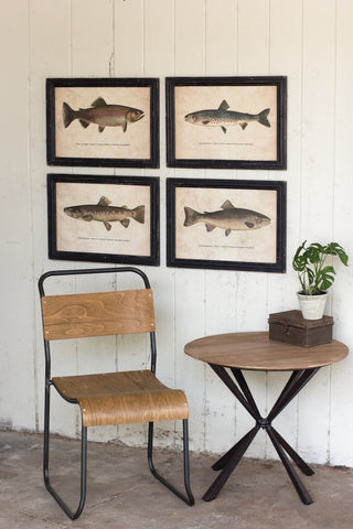 Set Of 4 Trout Prints Under Glass