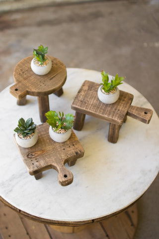 Set Of Three Cutting Board Risers - One Each Design