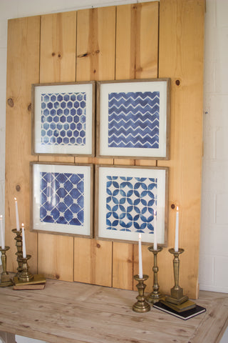 Set Of Four Blue Block Geometric Prints Under Glass