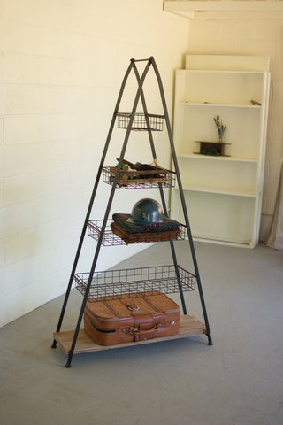 A Frame Tower With Wire Baskets And Wooden Shelf