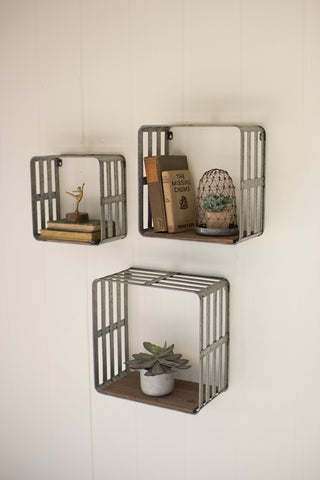 Set Of Three Slat Metal And Wood Display Crates