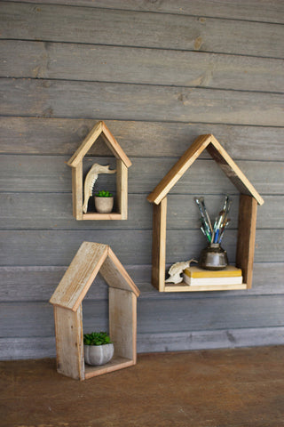 Set Of Three Recycled Wooden House Shelves