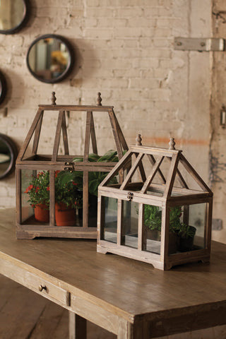 Set Of 2 Wood And Glass Terrariums