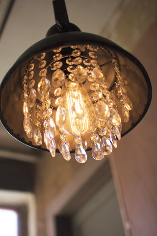 Metal Pendant Lamp With Hanging Glass Gems