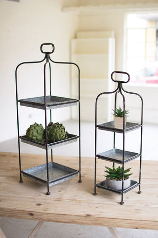 S/2 Tall Metal Display Stands W/ Galvanized Trays