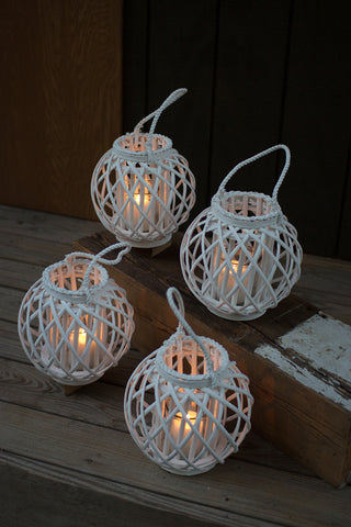 Round White Willow Lantern With Glass Insert - Large