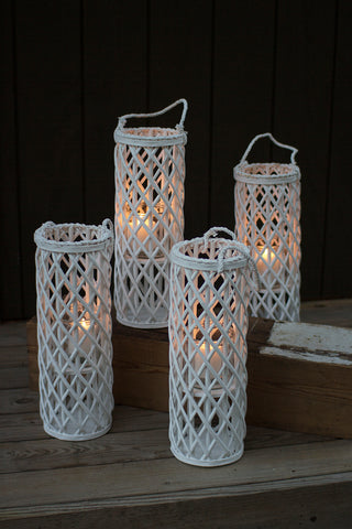 Tall White Willow Lantern With Glass Insert
