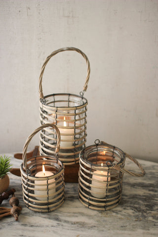 Set Of Three Grey Willow Lanterns With Glass
