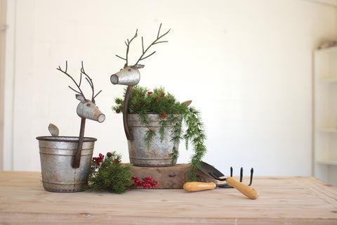 Set Of Two Metal Deer Planters