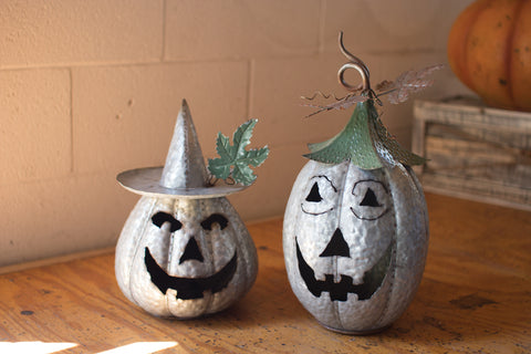Set Of Two Galvanized Jack-O-Lanterns