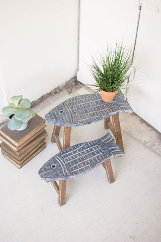 Set Of Two Wooden Fish Stools