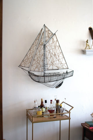 Woven Metal And Jute Sailboat Wall Hanging