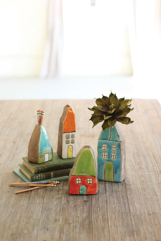 Set Of Four Colorful Ceramic House Bud Vases