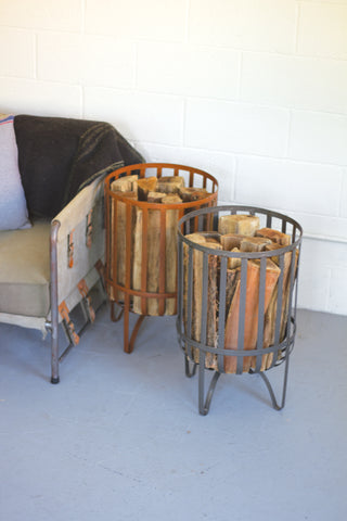 Metal Log Basket - Rustic