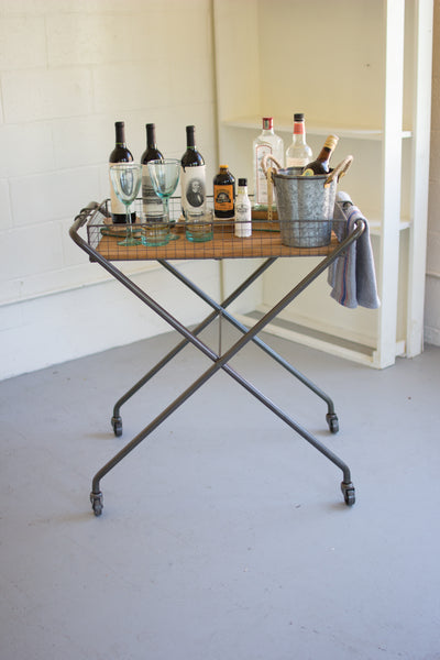 Wire And Honey Wood Tray With Folding Base And Casters