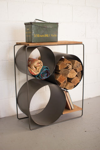 Honey Wood And Raw Metal Shelf With Round Comparments