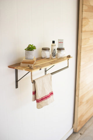 Recycled Wood And Metal Wall Shelf With Rope Hanger