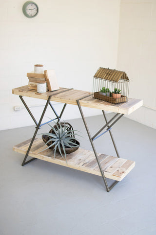 Recycled Wood And Metal Sofa Table