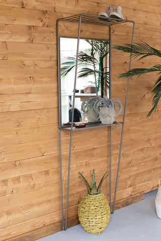 Metal Framed Mirror With Wall Shelving Unit
