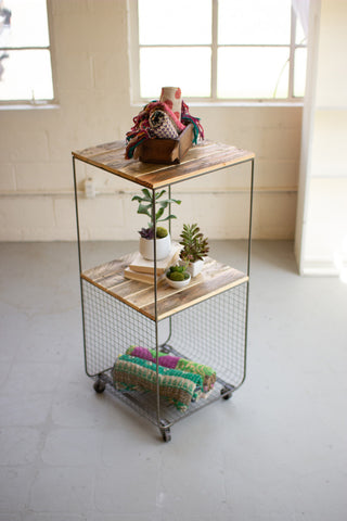 Rolling Recycled Wood And Metal Two Tiered Shelving Unit