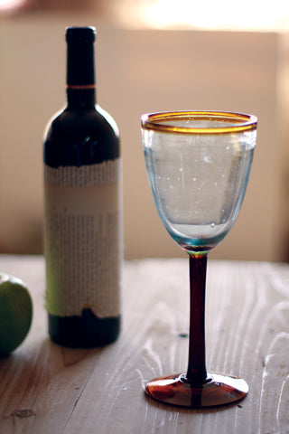 Eight Ounce Wine Glass With Amber Rim