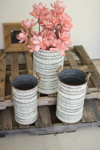 Set Of Three Pressed Tin Buckets With Wooden Handles
