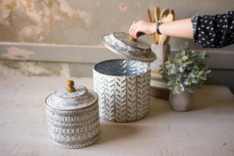 Set Of Two Pressed Tin Canisters