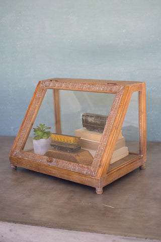 Wood & Glass Display Case W Slanted Front - 20X13.75X14.75T