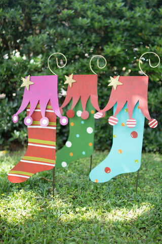 Set Of Three Christmas Yard Art - Stockings