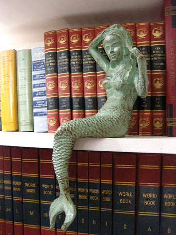 Antique Green Cast Iron Mermaid