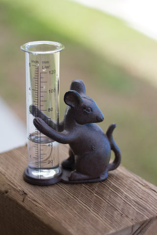Cast Iron Mouse Rain Gauge