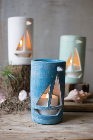 Set Of Three Clay Sailboat Luminaries