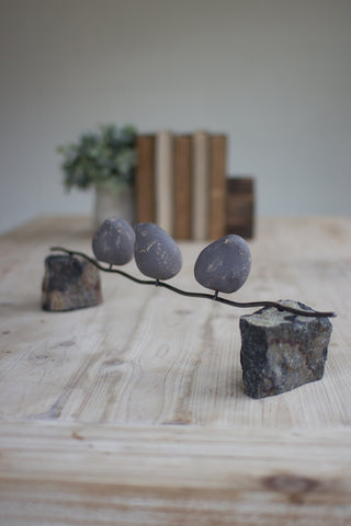 Set Of Three Clay Birds On A Wire W/Stone Base