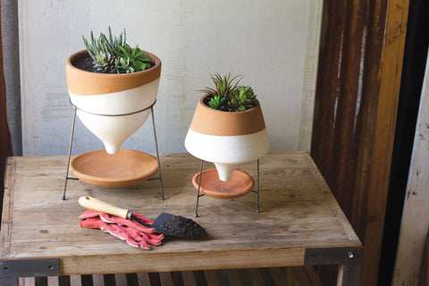 Natural & White Small Terracotta Funnel Planter W Wire Base