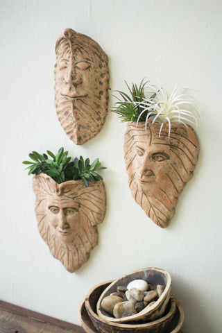 Set Of Three Clay Leaf Wall Face Planters